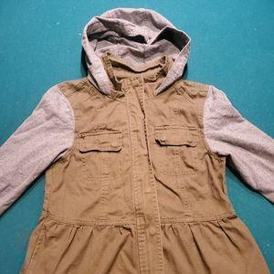 Girls peplum bottom hooded army jacket